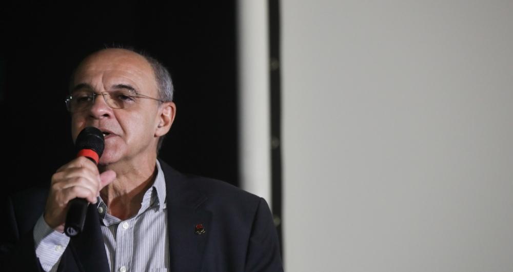 O presidente do Flamengo, Eduardo Bandeira de Mello, participa de evento no Museu do Flamengo, na G�vea