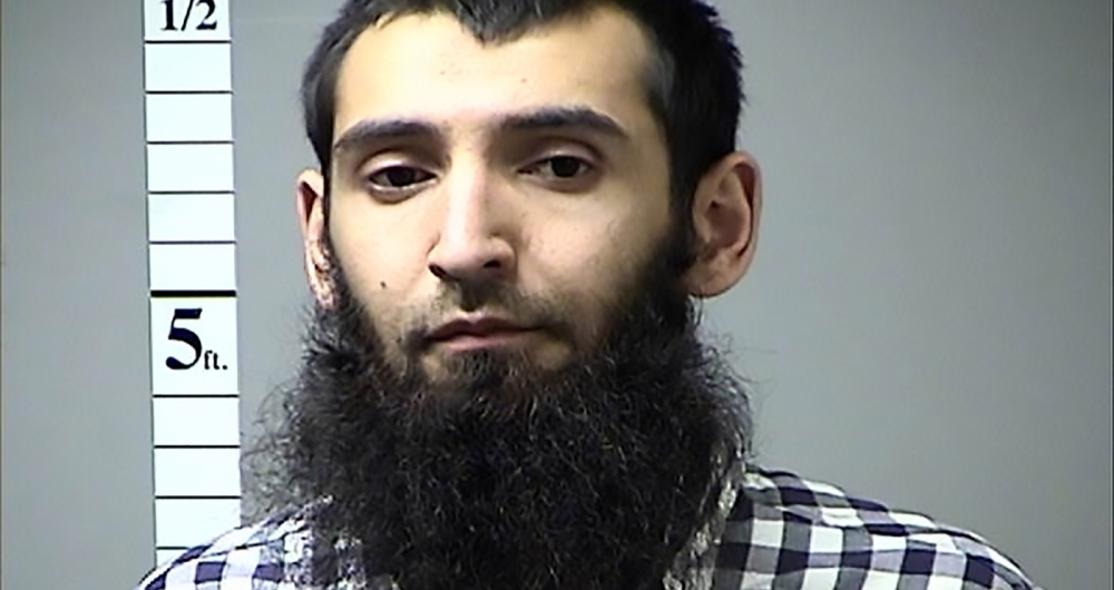 This handout photograph obtained courtesy of the St. Charles County Dept. of Corrections in the midwestern US state of Missouri on October 31, 2017 shows Sayfullah Habibullahevic Saipov, the suspectecd driver who killed eight people in New York on October 31, 2017, mowing down cyclists and pedestrians, before striking a school bus in what officials branded a