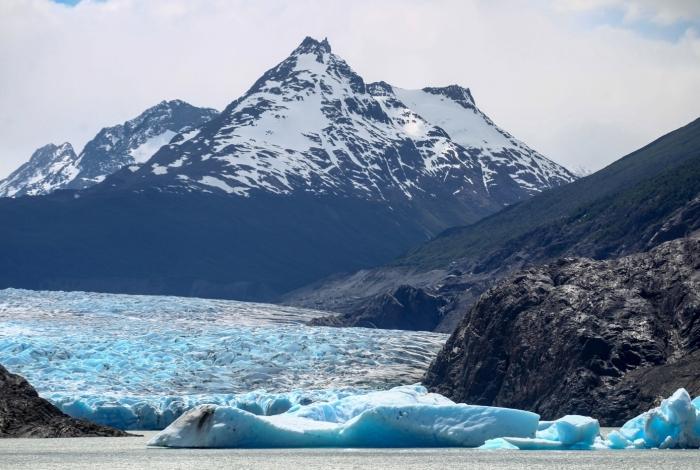 A Geleira Grey fica no Parque Nacional de Torres del Paine, no extremo sul do Chile, tradicional ponto turístico do país e rota de entrada para as expedições antárticas
