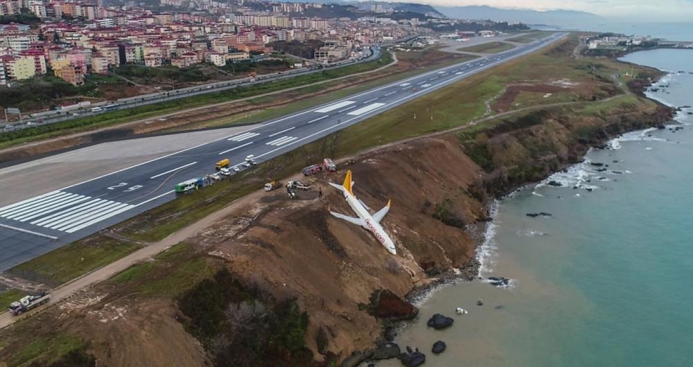 Um Boeing 737 da Pegasus Airlines, com 168 passageiros, derrapou e saiu da pista no aeroporto de Trabzon, na Turquia. Ninguém se feriu