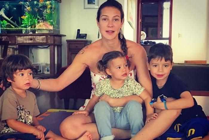 Luana Piovani com os filhos: Bem, Liz e Dom