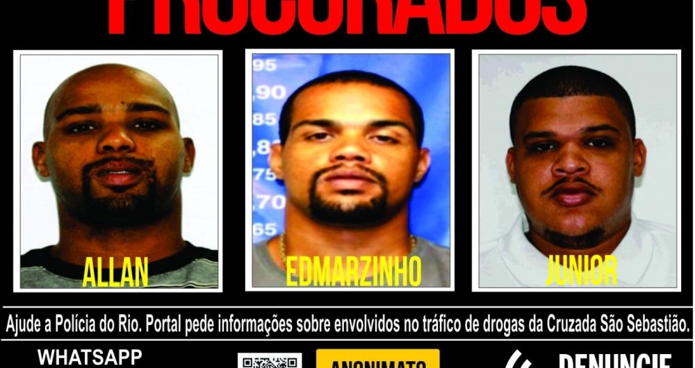 Portal dos Procurados divulga cartaz com fotos de suspeitos de integrar o tr�fico de drogas na Cruzada S�o Sebasti�o