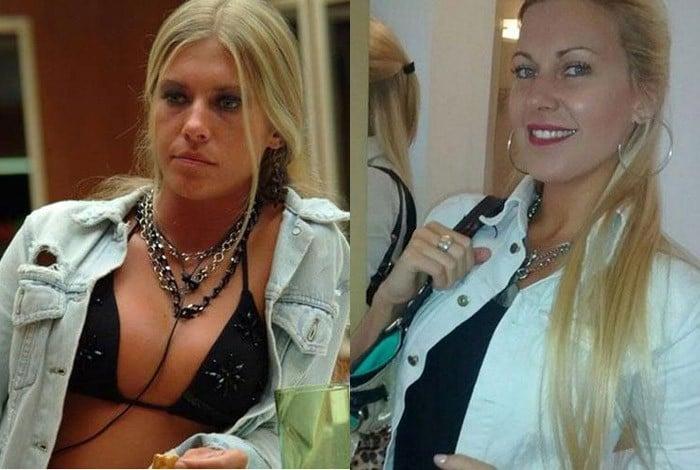 Antonella quando participou do 'BBB', em 2004, e ao lado em foto atual