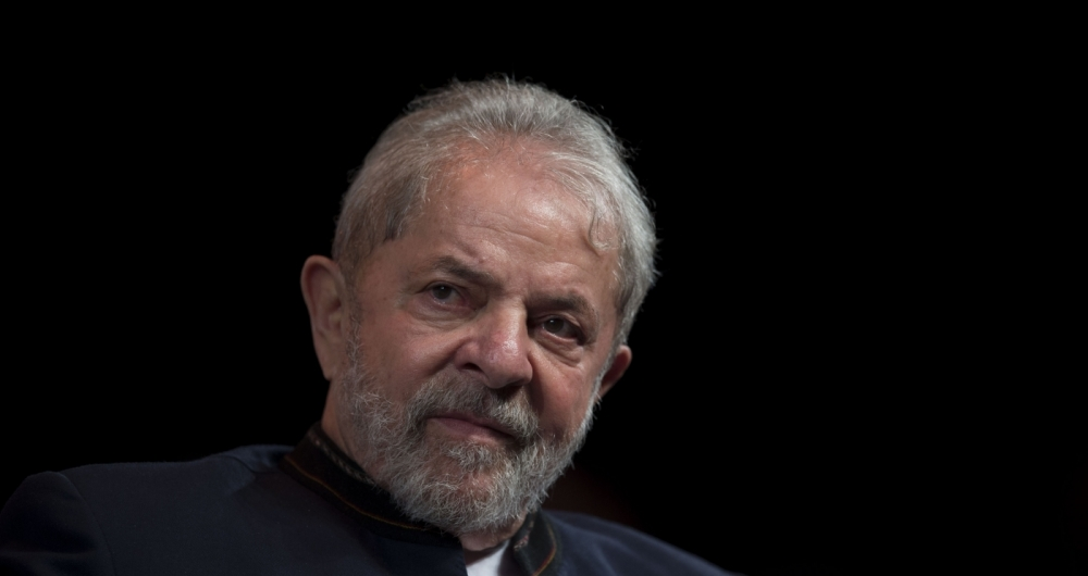 (FILES) This file photo taken on January 16, 2018 shows former Brazilian president Luiz Inacio Lula da Silva reacting during a meeting with artists at Oi Casa Grande Theater in Rio de Janeiro, Brazil.