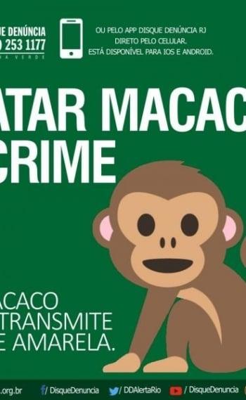Cartaz lan�ado pelo Disque-Den�ncia da campanha contra ataques a macacos no RJ
