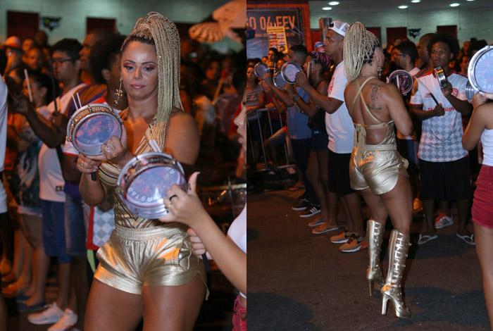 Viviane Araújo brilha no ensaio de rua do Salgueiro