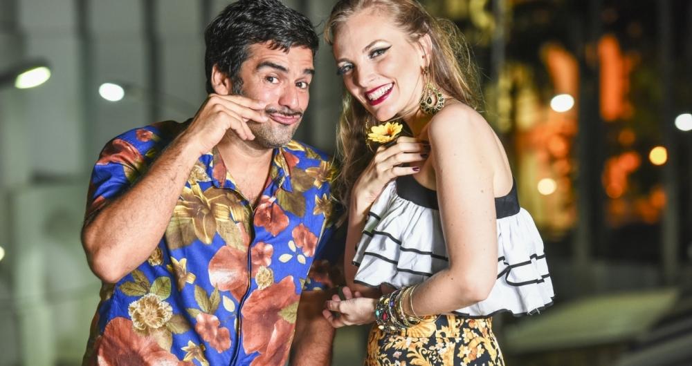 Os cantores convidados Pedro Miranda e Nina Wirtti