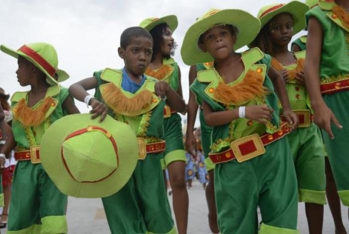A escola de samba Tijuquinha do Borel no desfile das Escolas de Samba Mirins na Sapucaí