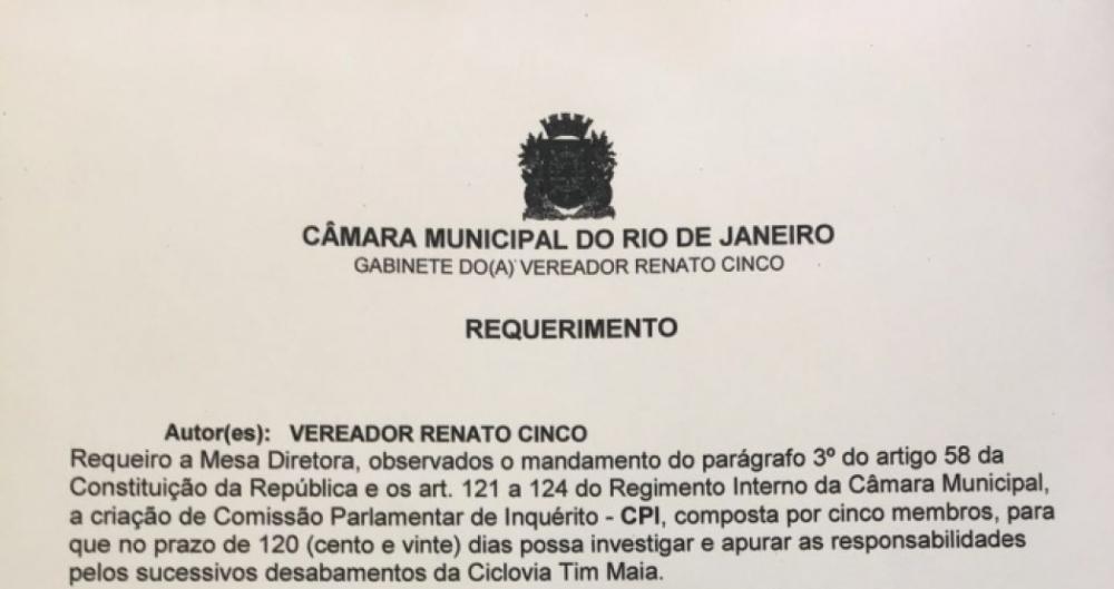 Vereador pede abertura de CPI da construção da Ciclovia Tim Maia