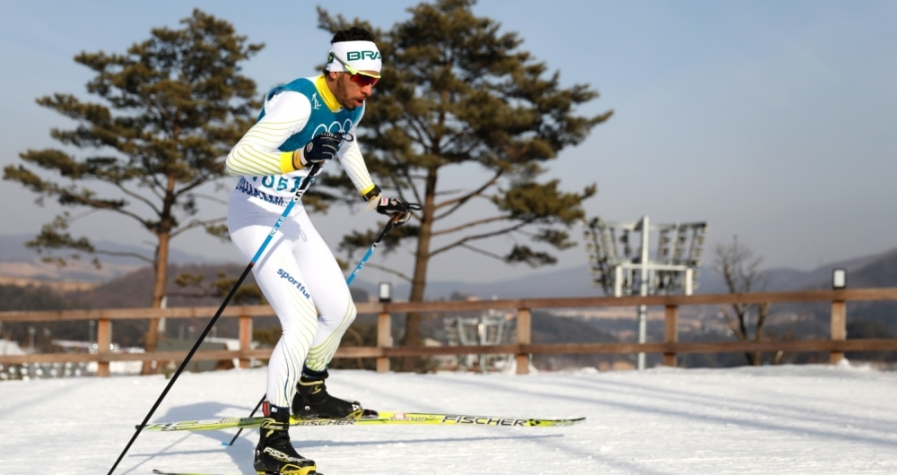 Brazil's Victor Santos competes during the men's 15km cross country freestyle at the Alpensia cross country ski centre during the Pyeongchang 2018 Winter Olympic Games on February 16, 2018 in Pyeongchang.  / AFP PHOTO / Odd ANDERSEN