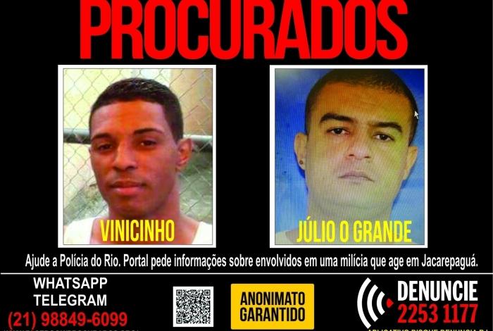 Portal pede informações sobre integrantes de milícia que atua em Jacarepaguá