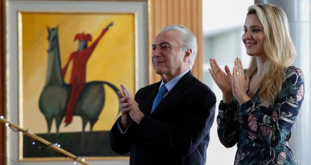 Bras�lia - O presidente Michel Temer e a primeira-dama Marcela Temer  durante apresenta��o musical das crian�as do centro social Ing� e de crian�as do PROFESP (Alan Santos/PR)