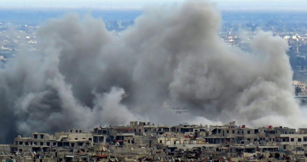 Ataques a�reos no enclave rebelde de Ghuta Oriental nesta ter�a-feira comprometendo a