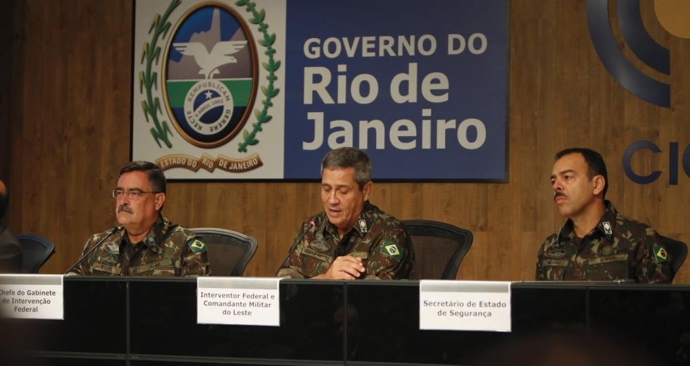Primeira coletiva do general Braga Neto falando da intervenção federal na segurança publica do Rio,
