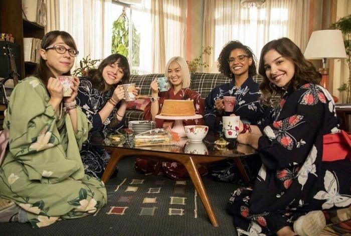 Na ordem (da esquerda para a direita): Daphne Bozaski (Benê), Manoela Aliperti (Lica), Ana Hikari (Tina), Heslaine Vieira (Ellen) e Gabriela Medvedovski (Keyla), as Five, protagonistas de 'Malhação: Viva a Diferença', da Globo