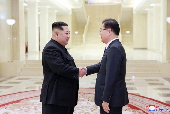 Líder da Coreia do Norte, Kim Jong-Un e diretor de segurança nacional da presidência sul-coreana, Chung Eui-yong, se reúnem em Pyongyang.