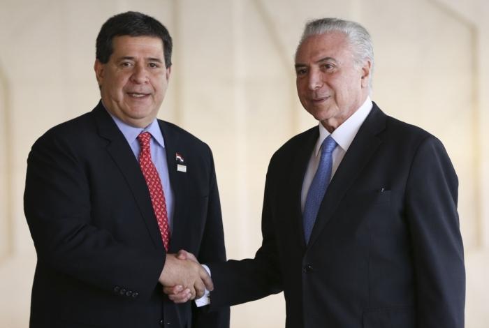 Brasília - O Presidente Michel Temer recebe  Horacio Cartes, presidente do Paraguai, durante a 51ª Cúpula de Chefes de Estado do Mercosul e Estados Associados, no Palácio Itamaraty  (Marcelo Camargo/Agência Brasil)
