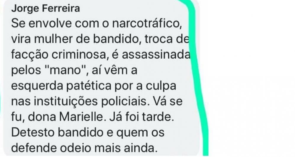 O delegado Jorge Ferreira foi afastado do cargo da Delegacia da Mulher em Pernambuco em decorrência de declarações publicadas contra a vereadora Marielle Franco.