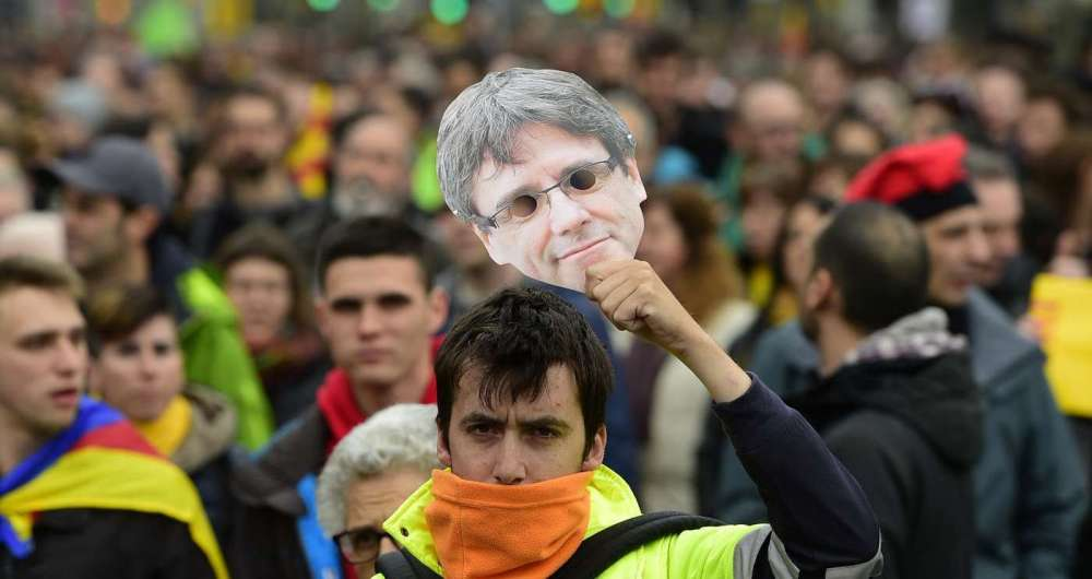 Protesto em apoio a Carles Puigdemont