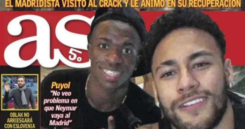 Foto de Neymar e Vinicius J�nior foi destaque na imprensa espanhola