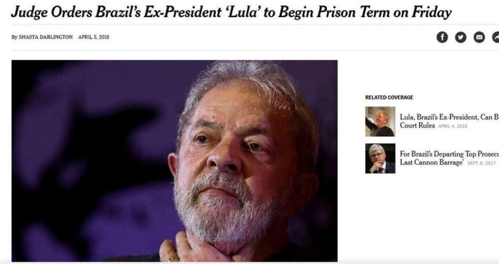 Iminente pris�o de Lula foi destaque na imprensa internacional