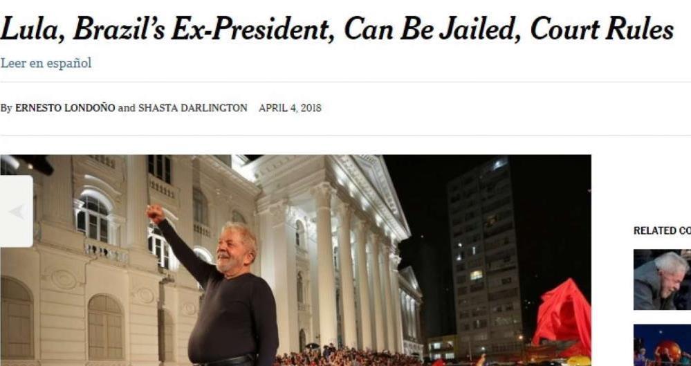 O americano 'The New York Times' disse que a decisão do STF dá uma reviravolta na política do país e parece anular a tentativa de Lula voltar ao poder.