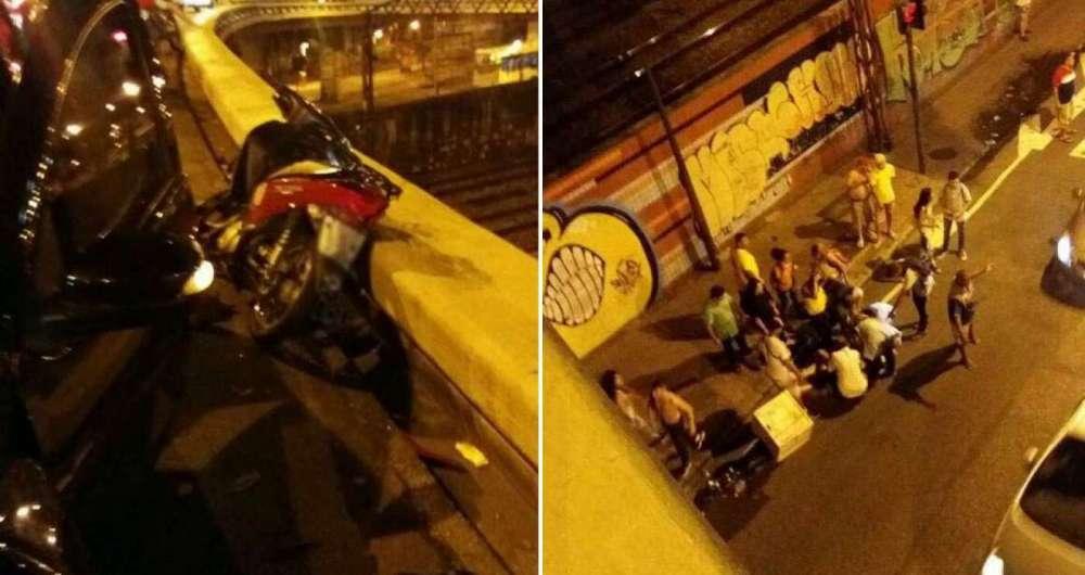 Acidente entre carro e moto no Viaduto do Méier