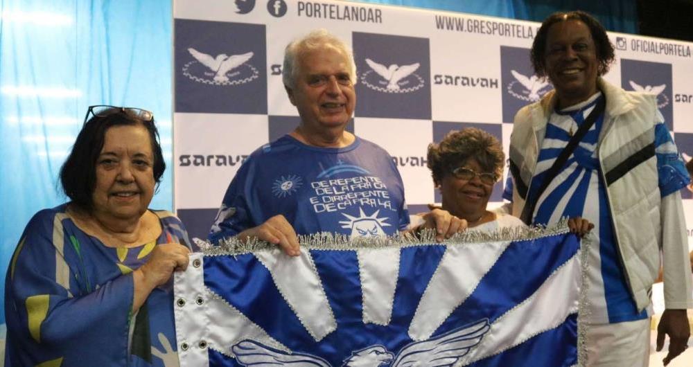 Missa vai celebrar os 95 anos da Portela nesta quarta-feira. Na foto, Rosa Magalhães, o presidente Luis Carlos Magalhães e os baluartes Tia Surica e Jerônimo