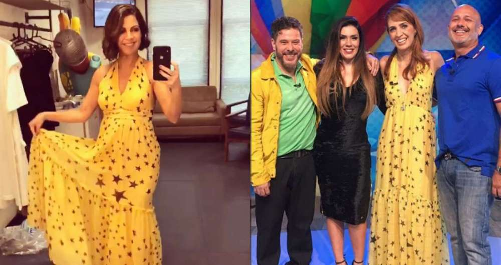 Thalita Rebou�as com o vestido nos bastidores do 'The Voice Kids' e, ao lado, Poliana Abritta durante entrevista com os integrantes do grupo Bal�o M�gico