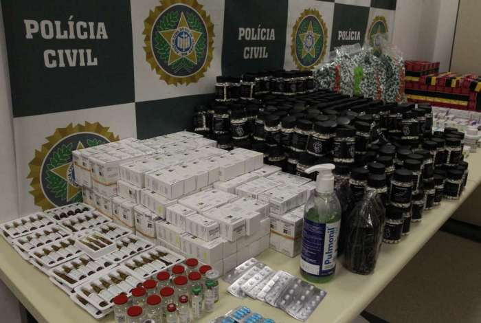 Carga de anabolizantes apreendida pela polícia em abril de 2018