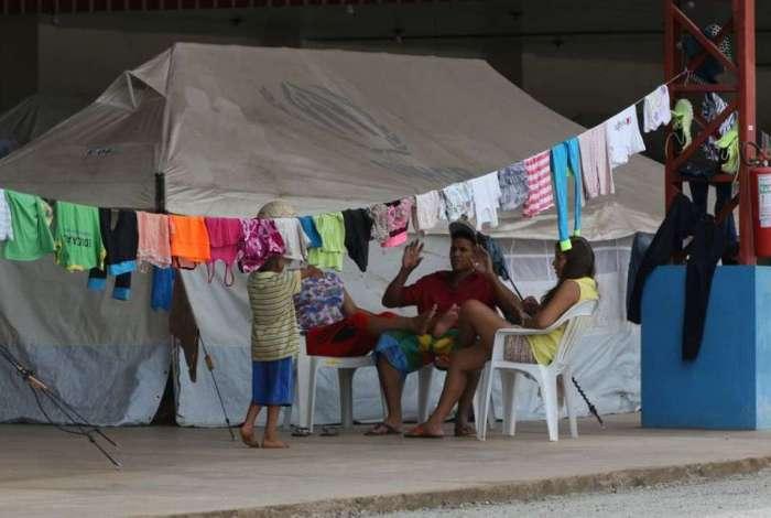 Acampamento de refugiados venezuelanos montado em Boa Vista