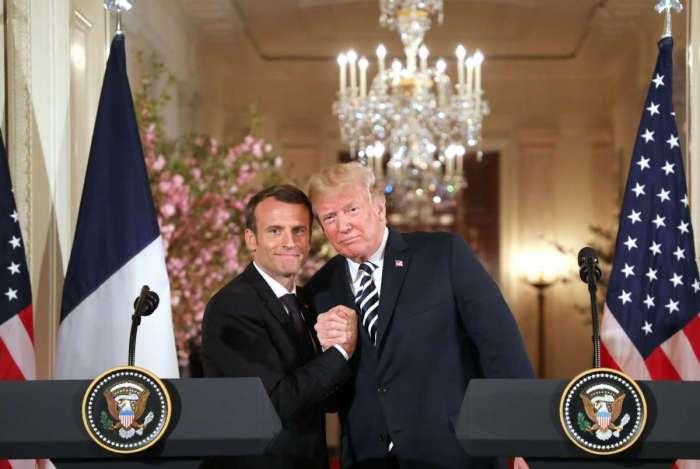 O presidente americano, Donald Trump, e o presidente francês, Emmanuel Macron, participam de coletiva de imprensa na Casa Branca em Washington