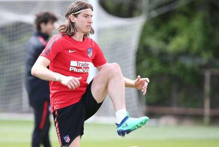 Filipe Luis voltou aos treinos do Atl�tico de Madrid