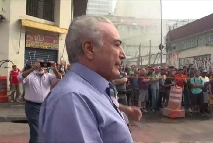 Michel Temer visita o local do prédio que desabou após incêndio no Largo do Paissandu, no Centro de São Paulo