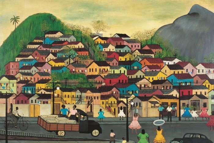 Exposi��o 'O Rio do samba: resist�ncia e reinven��o' - obra 'Morro da Mangueira', de Heitor dos Prazeres, 1965, �leo sobre tela