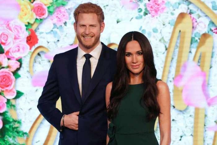 Est�tuas de cera do pr�ncipe Harry da Gr�-Bretanha e sua noiva dos EUA Meghan Markle no Madame Tussauds no centro de Londres