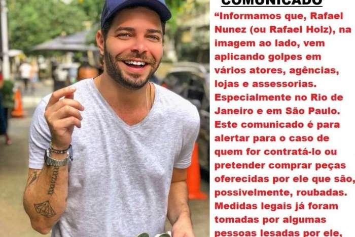 Comunicado que circula nas redes sociais fazendo alerta sobre Rafael Nunes