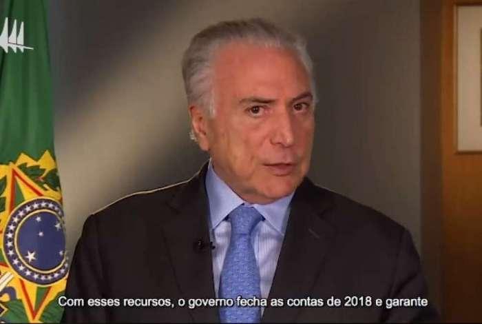 O presidente Michel Temer publicou vídeo em sua conta no Facebook divulgando notícias da  economia