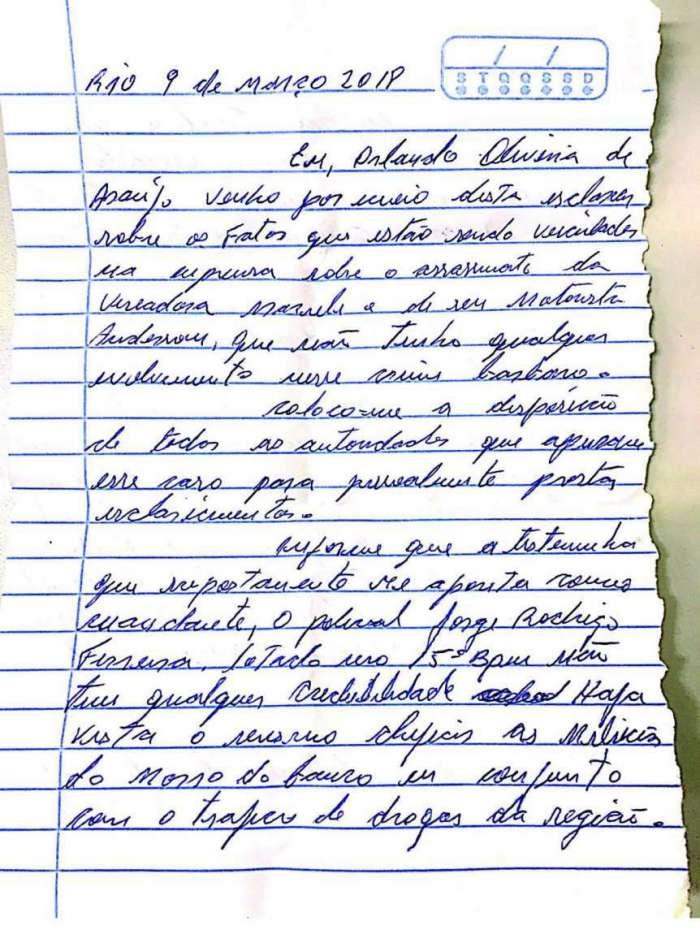 Em carta, Orlando de Curicica tamb�m negou participa��o nas mortes