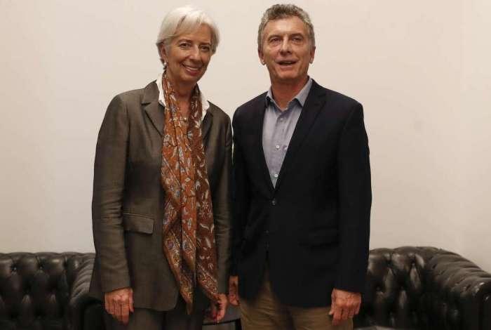 A diretora-gerente do FMI, Christine Lagarde, e o presidente argentino, Mauricio Macri, em Buenos Aires