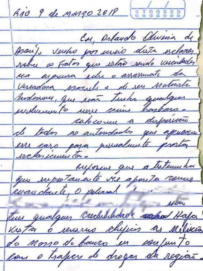 Carta de Orlando sobre seu suposto envolvimento na morte de Marielle Franco