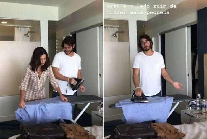 F�tima Bernardes ensina o namorado, T�lio Gadelha, a passar roupa