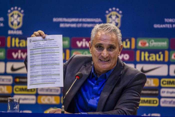 Convocacao da selecao brasileira pelo tecnico Tite na sede da CBF na Barra. Rj, 14 de maio.