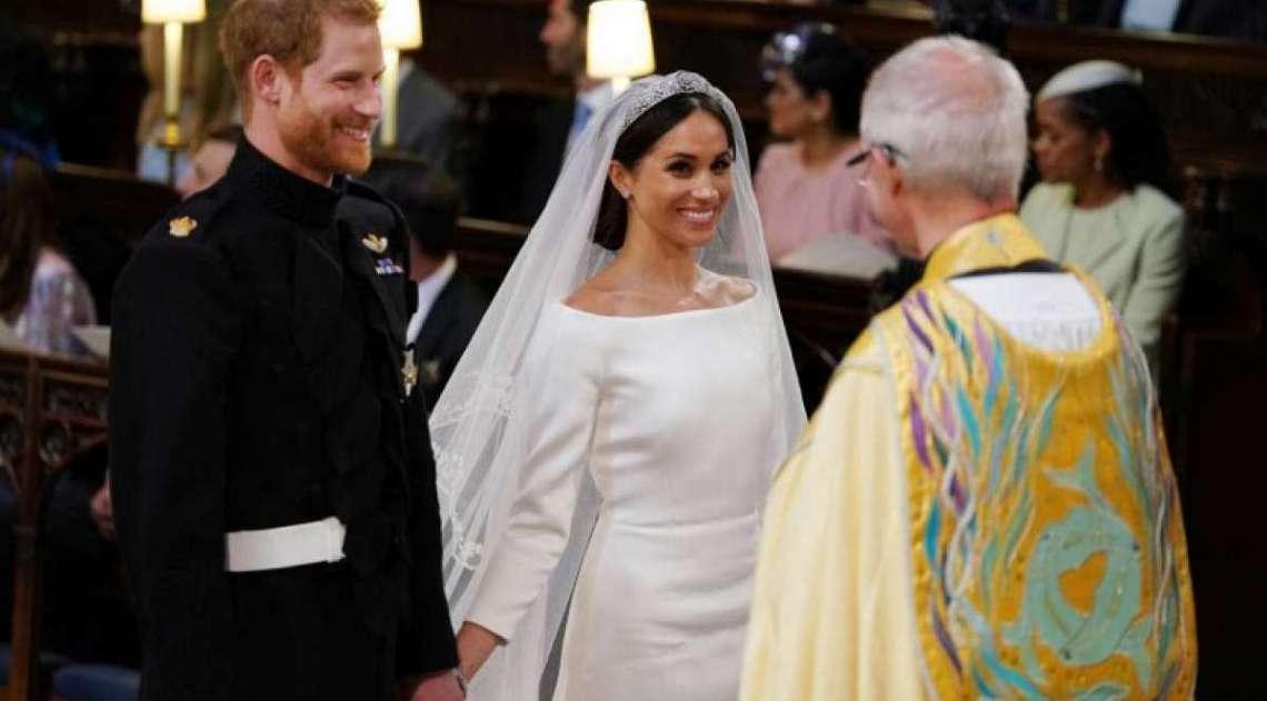 Pr�ncipe Harry da Inglaterra e a atriz americana Meghan Markle foram declarados marido e mulher neste s�bado em uma cerim�nia na igreja de S�o Jorge de Windsor