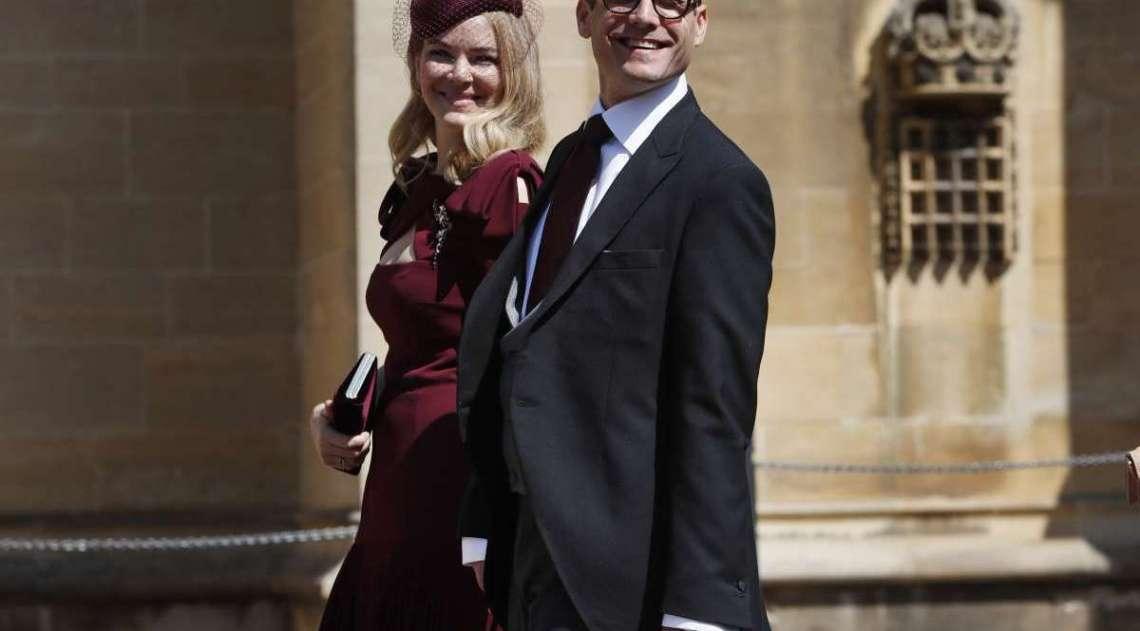 O ator norte-americano Gabriel Macht e sua esposa Jacinda Barrett chegando para a cerimônia de casamento do príncipe Harry e da atriz norte-americana Meghan Markle