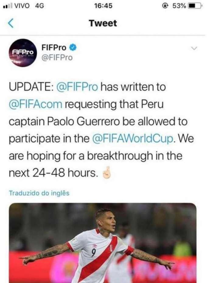 FIFPro solicitou à FIFA liberação para Guerrero jogar a Copa do ... 289031f3e704d
