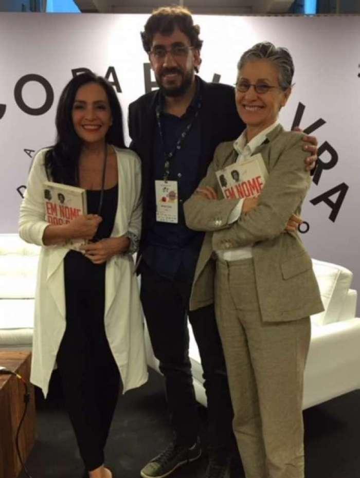 Liliana Rodriguez, Matheus Leitao e Cássia Kiss no Salão Carioca do Livro, na Biblioteca Parque
