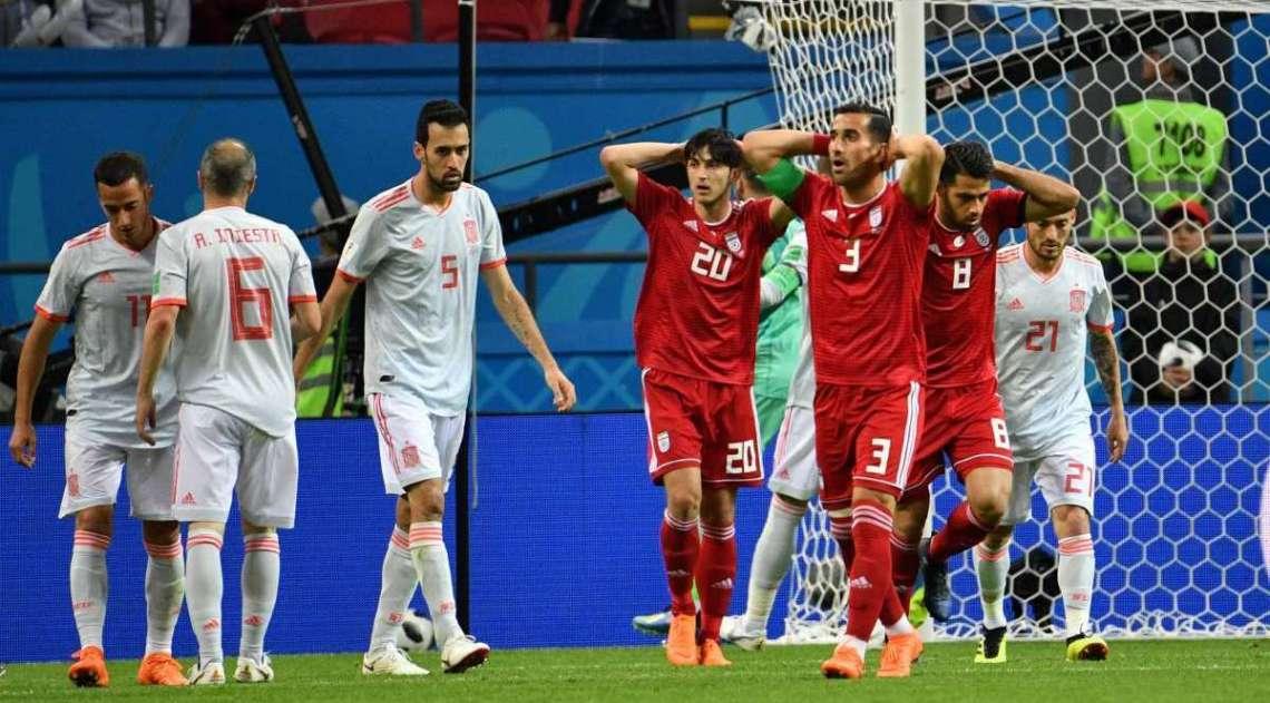 Iranianos se desesperam com o gol espanhol