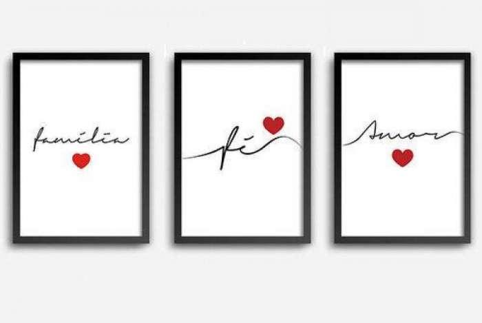 Conjunto quadros 'Fé, Amor e Família', com vidro A4, da Americanas.com. O item sai por R$ 99,90