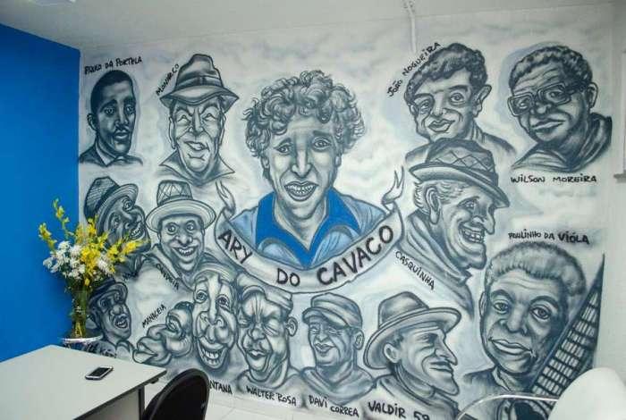 Ala de Compositores da Portela leva o nome do saudoso Ary do Cavaco, que foi homenageado com uma caricatura na sala dedicada aos poetas da escola, na quadra
